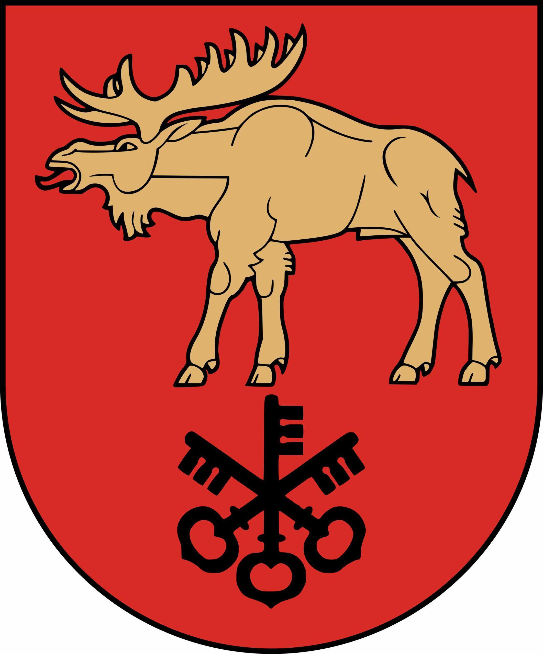 Herb Rejonu Łoździeje. Łoś i pęk trzech kluczy