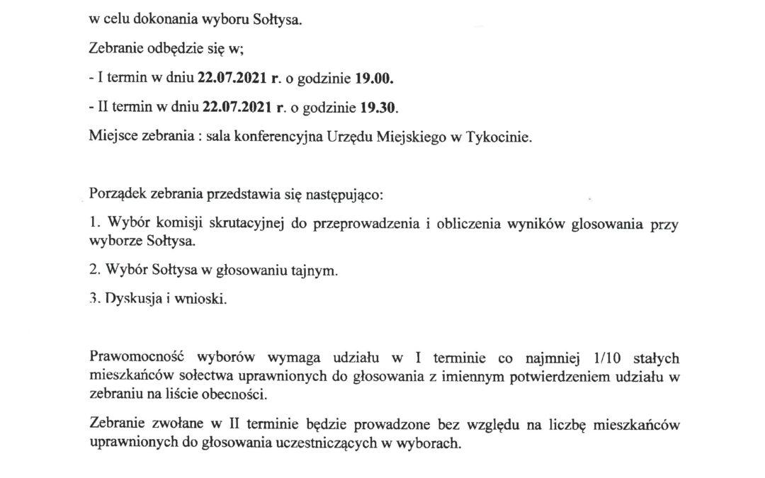 22 lipca 19:00 – wybory sołtysa Sołectwa Tykocin Nowe Miasto